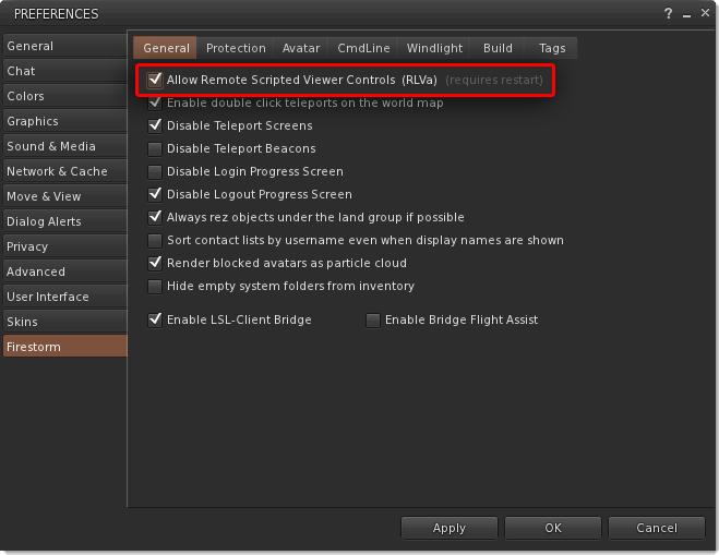 How to enable RLVa - Catznip